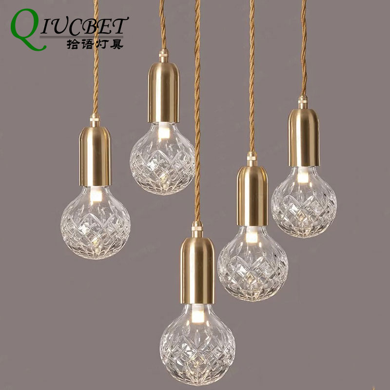 Lampe suspension nordique diamant ananas 4 W LED ampoule 1.5 m lampe suspendue pour Ins style de décoration de café