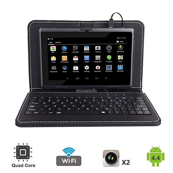 7 Quad Core Android 4.4 KitKat Tablet PC Dual Camera Play Store Pre Installed 2018 Newest Model Bundled with Keyboard (Black