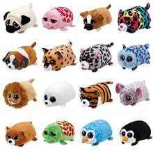 "Pyoopeo Ty Teeny Tys Set 4"" 10cm Giraffe Turtle Fox Tiger Seal Penguin Dog Leopard Owl Stackable Plush Doll Toy with Heart Tag(China)"