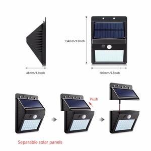 Image 4 - LED Güneş Gece Lambası Açık PIR Hareket Sensörü Güneş Enerjisi LED duvar lambası Için Ayrılabilir Yard Bahçe Kapı Yolu güvenlik aydınlatması