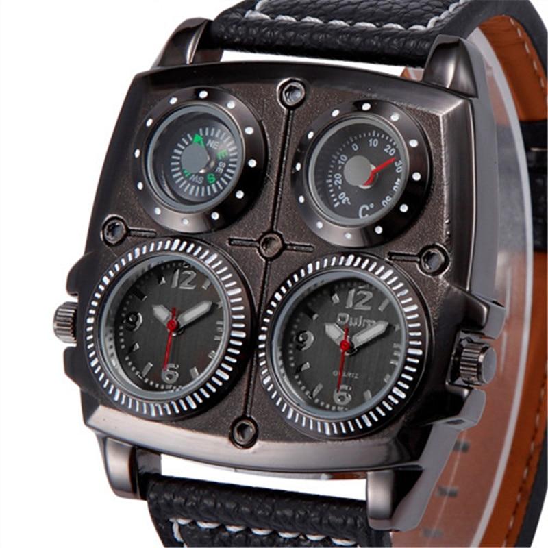 Oulm 1140 Mens Big Wrist Watch Leather Dual Time Compass Thermometer Sports Quartz Watches erkek kol saati reloj grande hombre