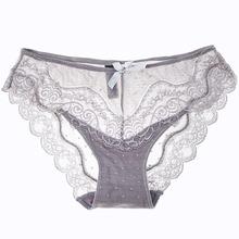8colors sexy koronki majtki miękkie oddychające majtki kobiety Bielizna Panie Rajstopy przezroczyste kuszące Low-Rise bawełna Bielizna tanie tanio Panties Nylon Spandex Cotton Briefs Niskich