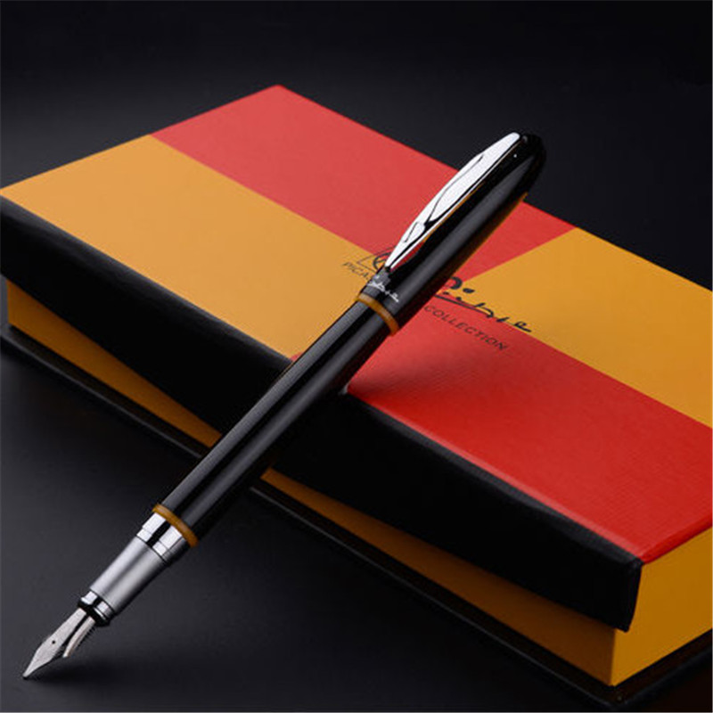 1pc/lot Picasso Montmartre Fountain Pen Yellow and Black PS-907 Pimio Pens Writing/Office Supplies Stationery 13.6*1.3cm italic nib art fountain pen arabic calligraphy black pen line width 1 1mm to 3 0mm