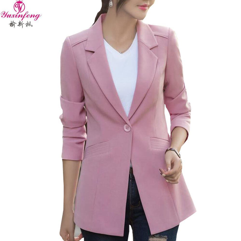 Spring Autumn Women Blazers and Jackets Plus Size One Button Solid Long Sleeve Blazer Ja ...
