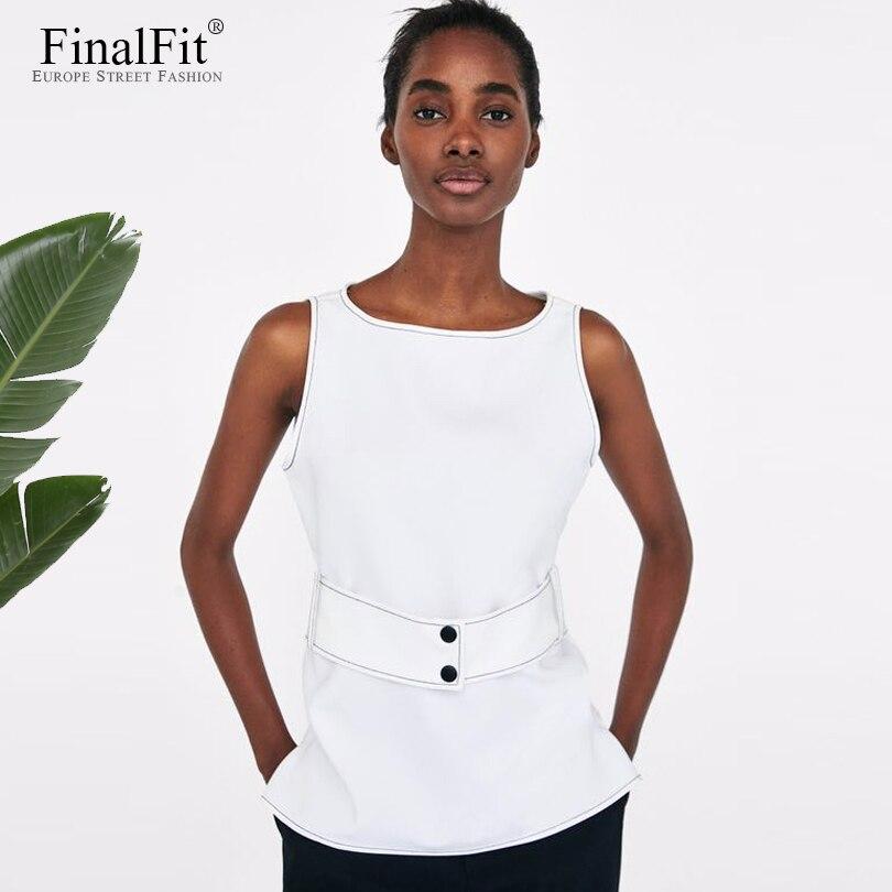 Chiffon Tank Top Women White Sashes Belted Women Vest Top Summer