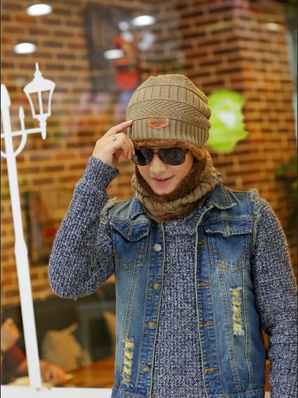 New hat knitted wool hat, patch cloth plus velvet warm jacket men's hat scarf with outdoor head cap ski cap