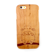 for Iphone 6/6s 4.7 inch 100% Genuine Bamboo Color Handmade Cherry Wood Case The Totoro Pattem Hard Cover Protective Shell