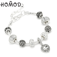 HOMOD Dropshipping Vintage Silver Plated Love Heart Women Charm Bracelets Crystal Bead Brand & Bangles Jewelry