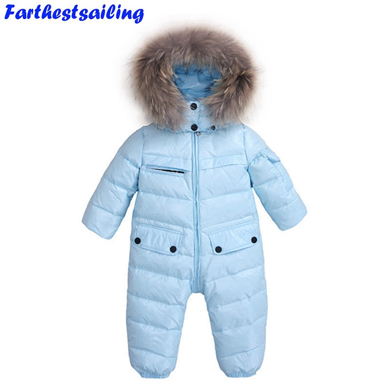 Baby Jumpsuit Winter Rompers Duck Down Baby Girls Rompers Hooded Children Winter Jumpsuit Infant Boys Snowsuit Real Fur Collar infant snowsuit new toddler boys girls winter suits thermal down jacket thickening jumpsuit fur collar baby snow wear