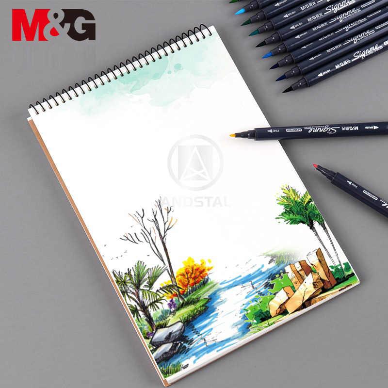 M & G 12/18/24/36/48 สี Dual-tip สีน้ำ Art Markers art สำหรับวาดแปรงชุดปากกา marker สี sketch สีปากกาสี