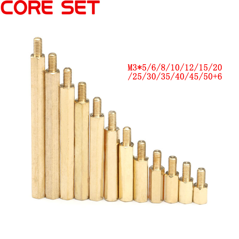 10pcs M3 Male 6mm x Female 5-50 mm Hex Brass Standoff Spacer M3+6 Copper Hexagonal Stud Spacer Hollow Pillars M3*(5-50)+6mm m3 nylon hex column male 6mm x m3 female spacer standoff screw nut