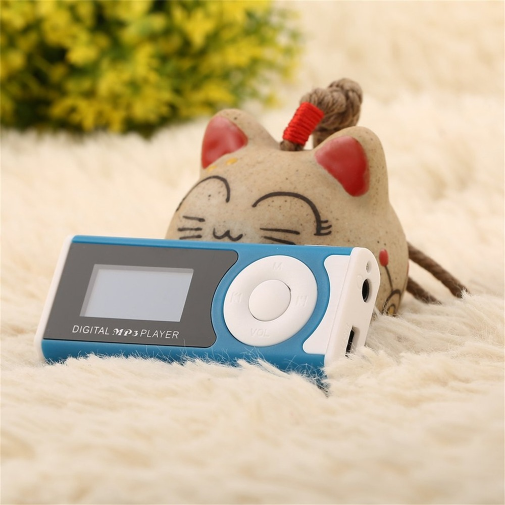 Portable MP3 Player LCD Screen USB Mini Clip Mp3 Player LED Light Stereo Super Bass Music Player for Micro SD TF Card+ Earphone