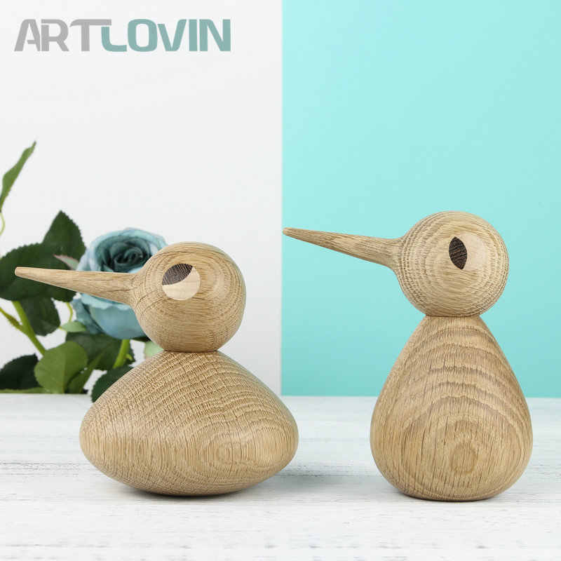 New Arrival Nordic Denmark Solid Oak Wood Bird Abstract Ornament Home Decoration Figurine Wooden Puppet Gift Home Interior Decor