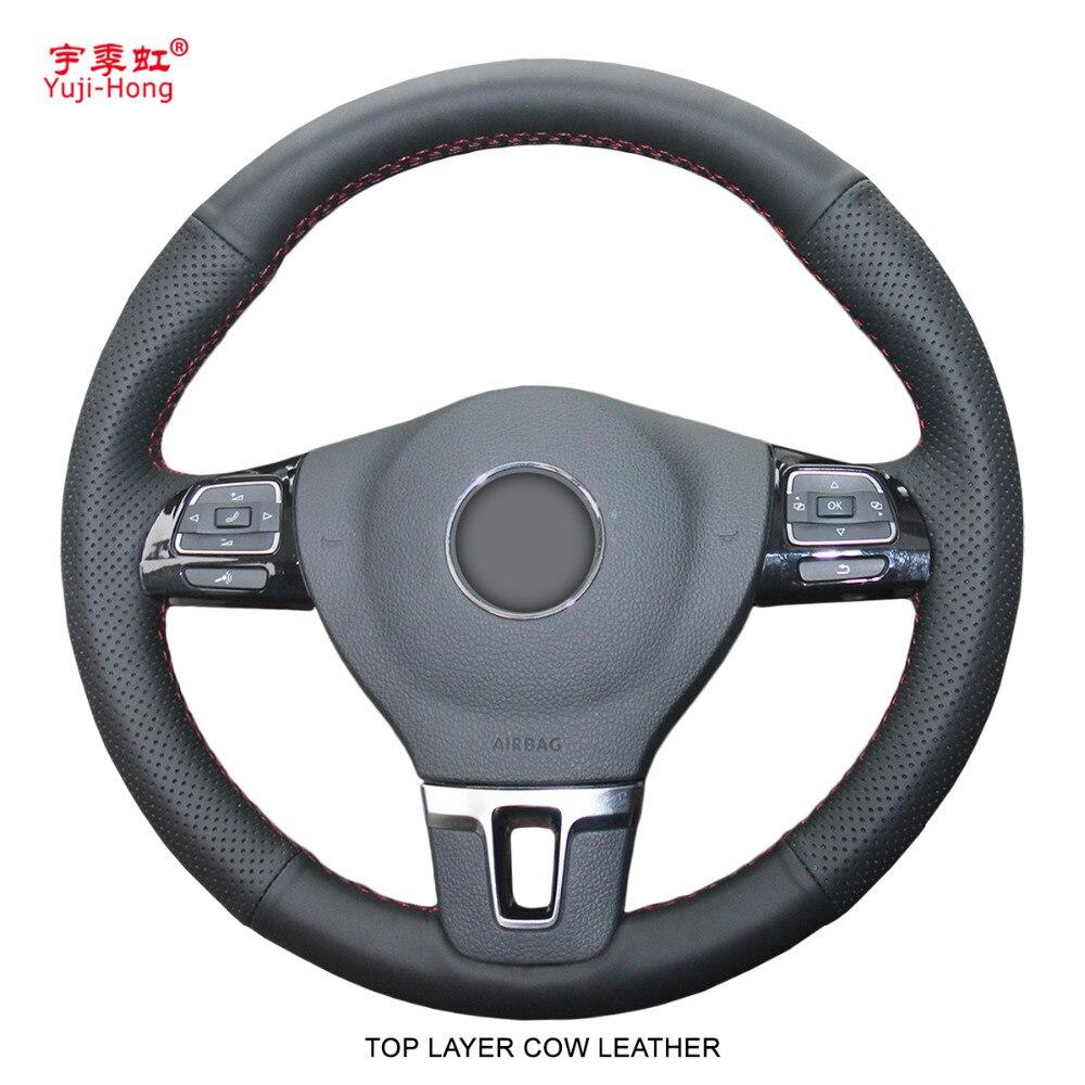 PONSNY couche supérieure véritable cuir de vache housse de volant de voiture pour Volkswagen VW CC Golf 6 Tiguan Passat Touran Magotan