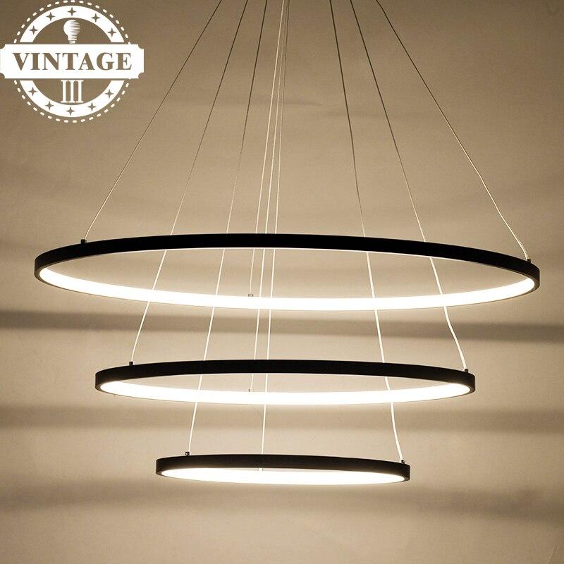 Acrylique cerchio anello lampadario suspendus pendentif lampe Trois Anneau cercles Moderne Led pendentif lumières pour le salon/salle à manger