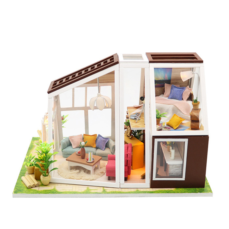 DIY Doll House Wooden Miniature Dollhouse Assemble Model Toys Handmade House Furnitures Puzzle Toys for Children