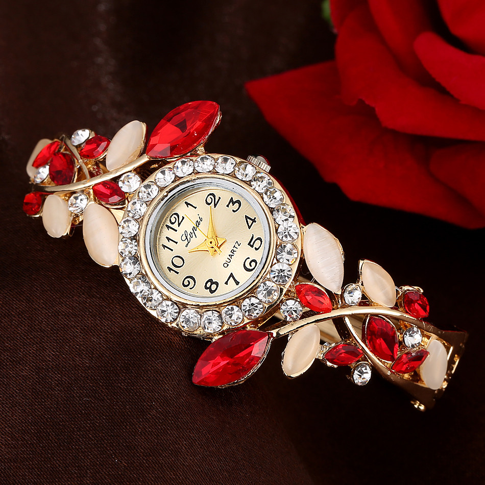Lvpai Fashion Vintage Women Dress Watches Colorful Crystal Women Bracelet Watch Wristwatch Casual Gift Dress Clock Red Watch