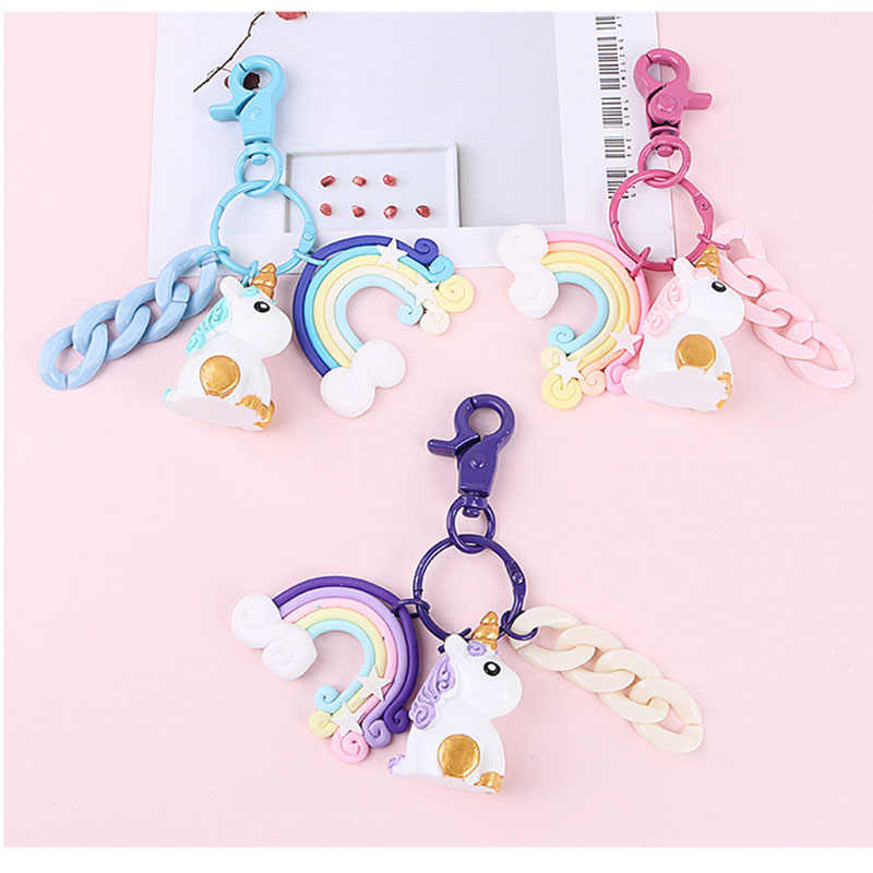 New Rainbow PVC Animal Unicorn Keychain for Men Women Bag Ornament Car Key Chain Porte Clef keyring Bag Decoration Jewelry