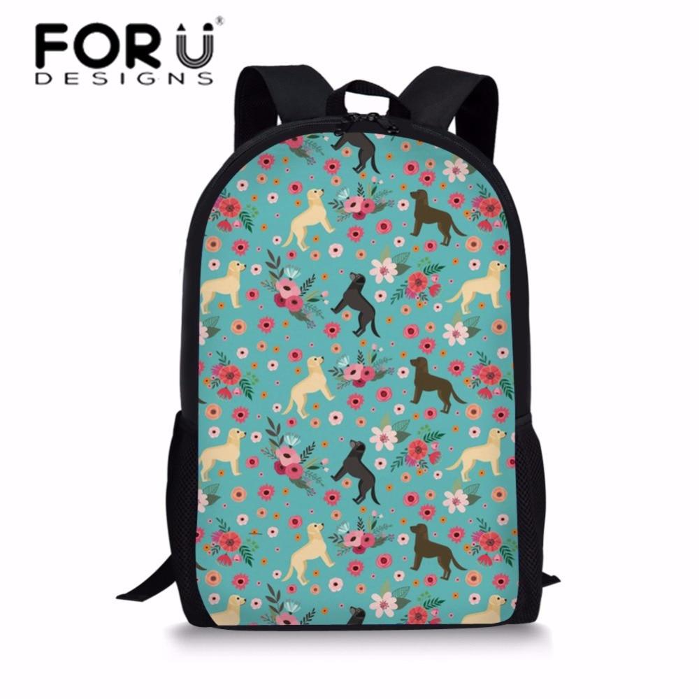FORUDESIGNS Labradoodle цветок печать школьные сумки для девочек Kawaii плеча рюкзак подростков большой Ёмкость Школа Книга сумка