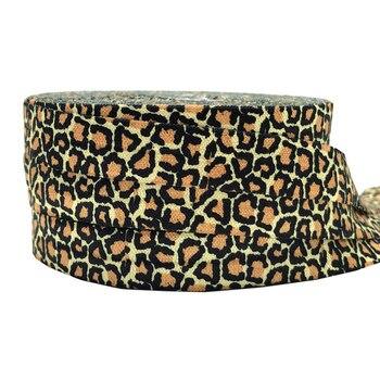 Estampado de cebra leopardo plegable sobre Cheetah elástico FOE cinta DIY accesorios para el cabello Correa pulsera 16mm yardas