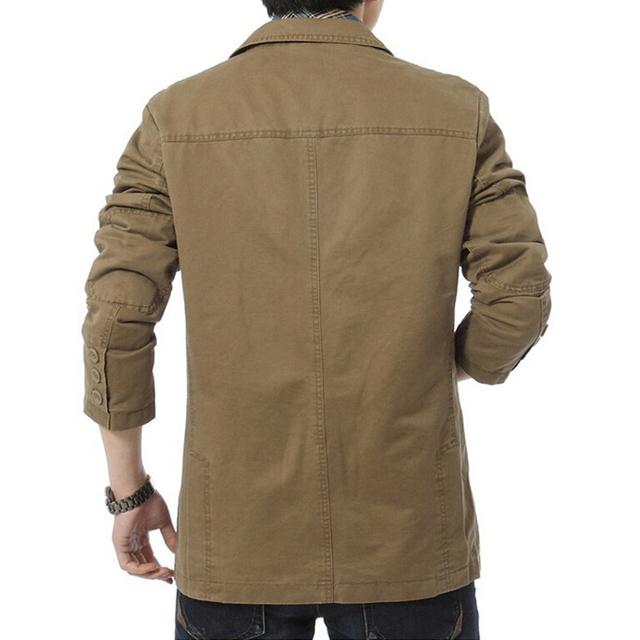 Brand New blazer men Casual Cotton Denim Blazer Parka Men's slim fit Jackets Army Green Khaki Large Size M- XXXL 4XL Coat