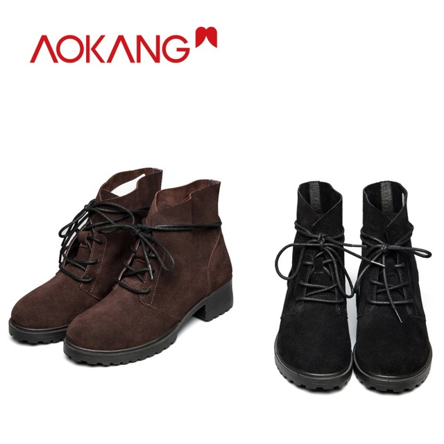 AOKANG New Arrival Winter Women Shoes boots Women ankle cow suede high top lace up thick heel Shoes Warm Ladies Shoes