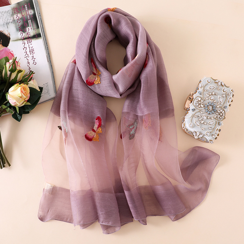 Women Fashion Spain Luxury Brand Stitch Butterfly Floral Silk Shawl Plain Ombre Tie Dye Wool   Scarves     Wrap   Foulards Hijab Sjaal