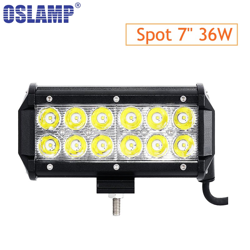 "Oslamp 7"" 36W Flood Spot Beam LED Work Light Bar Offroad 12V 24V 4x4 4WD Truck LED Fog Lamp Motorcycle Boat Van Tractor Lamp RZR"