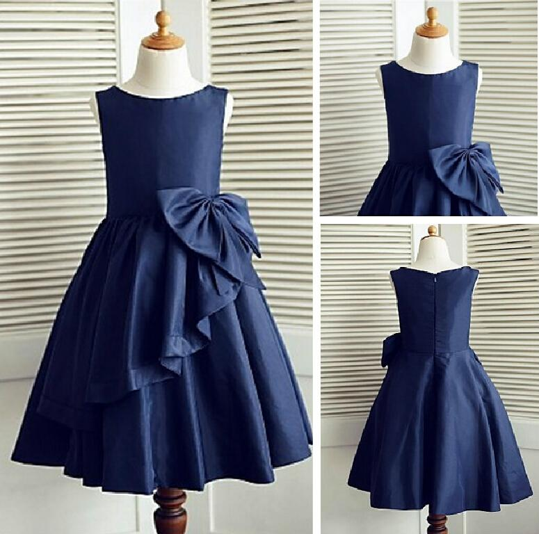 A-line Knee-length Taffeta Sleeveless Flower Girl Dress For Weddings Jewel Neck Princess Girls Satin Mother Daughter Dresses trendy women s sweetheart neck sleeveless floral print knee length dress