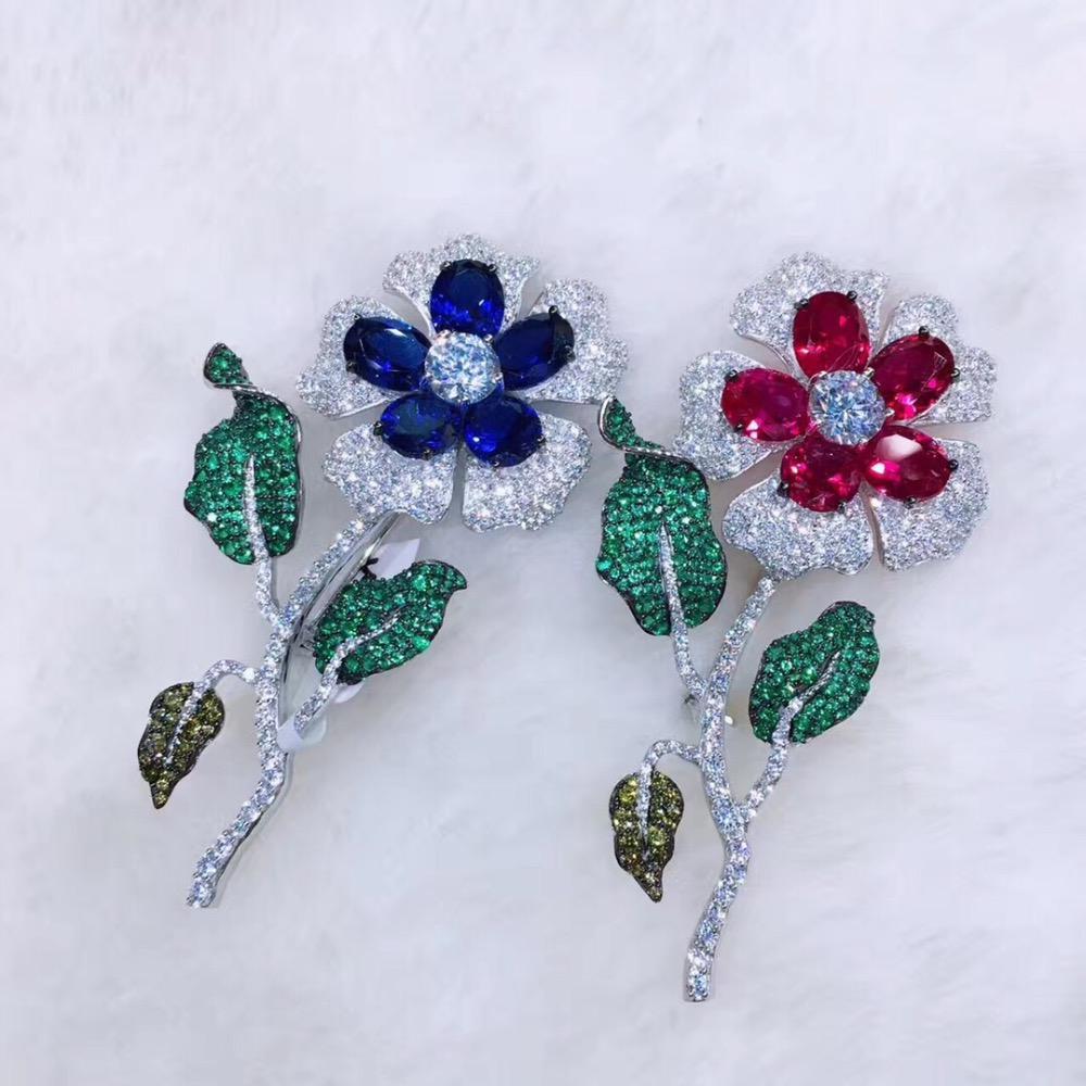 925 sterling silver with cubic zircon flower brooch pins fashion women jewelry for coat free shipping blue red color fashion red longline coat with belt
