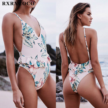 RXRXCOCO Sexy Swimwear Women Deep V Neck One Piece Swimsuit Printed Bathing Suit Push Up Halter Swimming Suit Backless Monokinis
