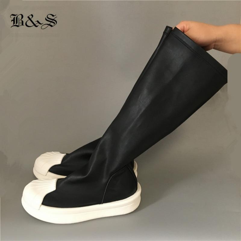 Black& Street 2018 Punk style Slip On Lightweight Sole Catwalk Sock Boots High Elastic Slim Shell Head Platform Boots