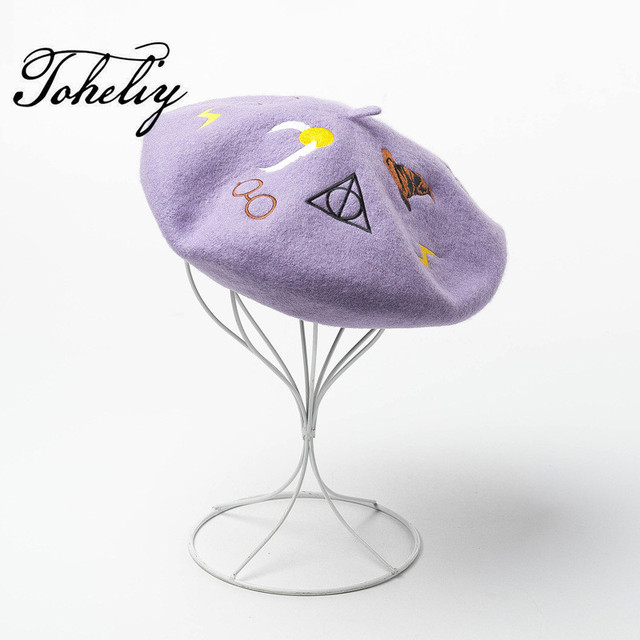 796db1645a10b New Style 100% wool Vintage Warm Winter Women embroidery Beret French  Artist Beanie Hat Cap