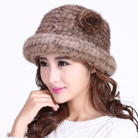 Winter Women Natural Mink Fur Hats With Flower 2017 New Real Knitted Mink Cap Female Fashion Solid Russian Thick Warm Headwear