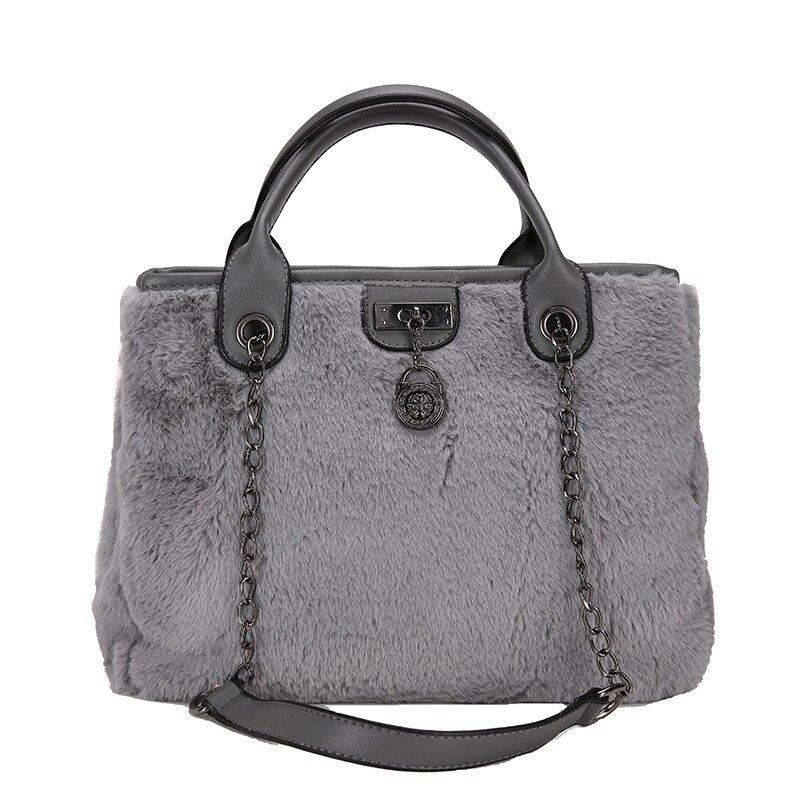 2018 Новый Для женщин сумка Плюшевые железная цепь большой Ёмкость удобная ручка Для женщин Курьерские сумки Вечеринка сумка женская Bolsos Mujer