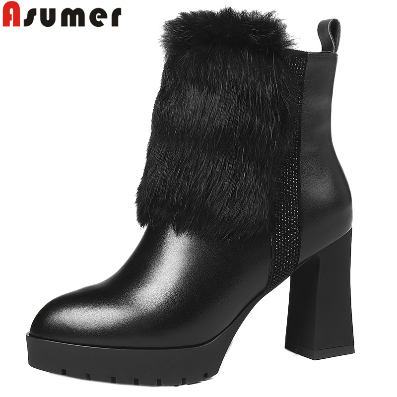 ASUMER fashion autumn winter boots women round toe zip genuine leather boots high heels shoes woman platform ankle boots women купить в Москве 2019