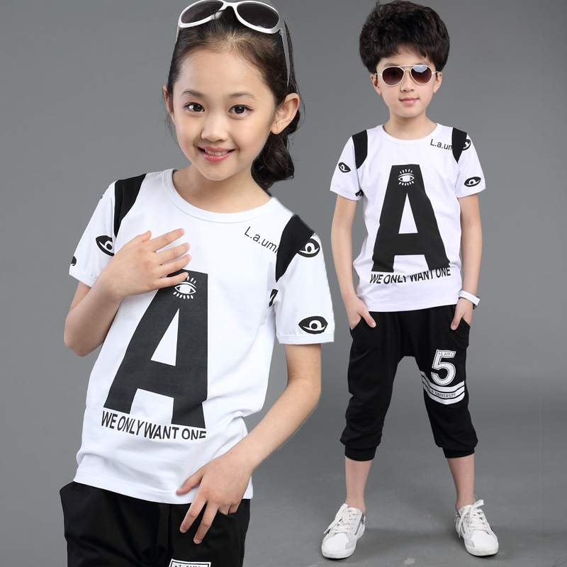 girls clothing set summer teenage girls clothing 5 8 10 12 10 year letter print girls outfits two piece cotton kids sport sets random floral print tie front two piece outfits in blue