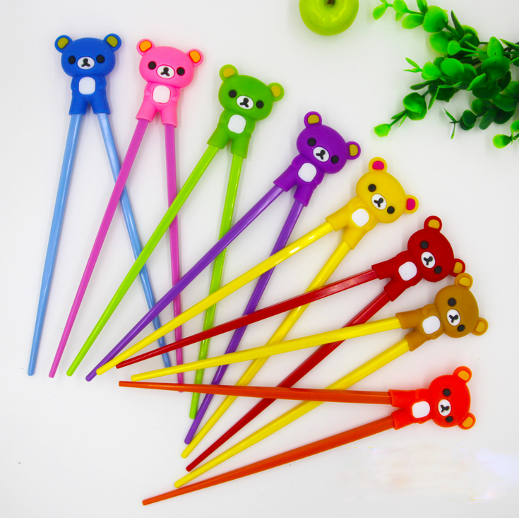 1 Pair Cute Multi Color Learning Chopsticks Super Cute Cartoon Bear Children Chopsticks Safe Silicone Teddy Bear Kids Gift
