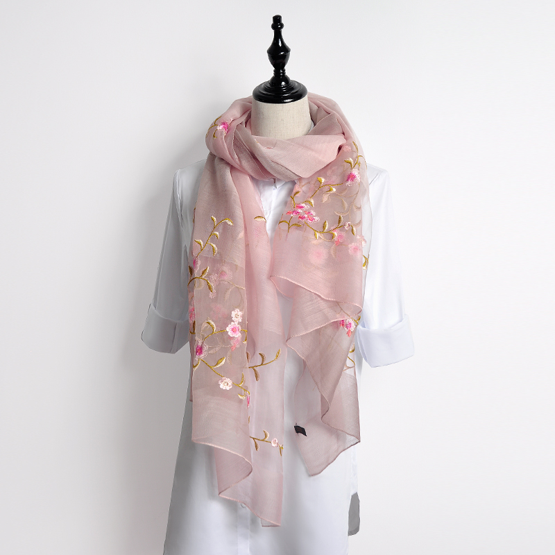 190x80cm Women Scarf All-Match Wool Chiffon Silk Shawls and Wraps Embroidery Pashmina Gradient Color Stoles Vintage Neckerchief