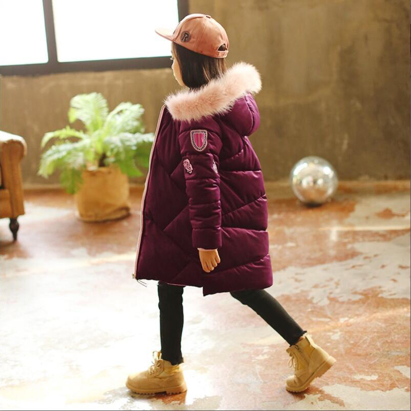 2018 New Winter Girl Coat Children Long Cotton Padded Jacket Kids Thick Velvet Jacket Tide 5-10 Years pregnant women of han edition easy to film a word long woman with thick cotton padded clothes coat quilted jacket down jacket