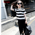 New Brand Children Boy Clothes Girls Casual Clothing Suits Summer Striped Short T shirt+Loose Pants For Boys Girls Clothes 3-16Y