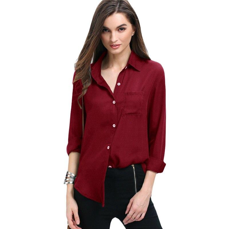 Frauen Bluse 2018 neue mode AliExpress revers kragen tasche tasten lose chiffon hemd blusa feminina Vestidos TN11