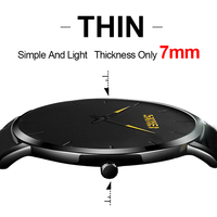 SKMEI Men Quartz Watches Fashion Casual Ultra Thin Wristwatches 30M Waterproof Simple Black Watch Relogio Masculino