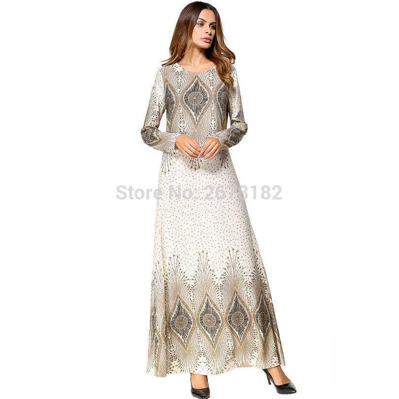 1a165f350 Detalle Comentarios Preguntas sobre De moda de la flor de impresión  musulmán vestido de mujer Abaya Oriente Medio traje largo vestidos Ramadán  Dubai árabe ...