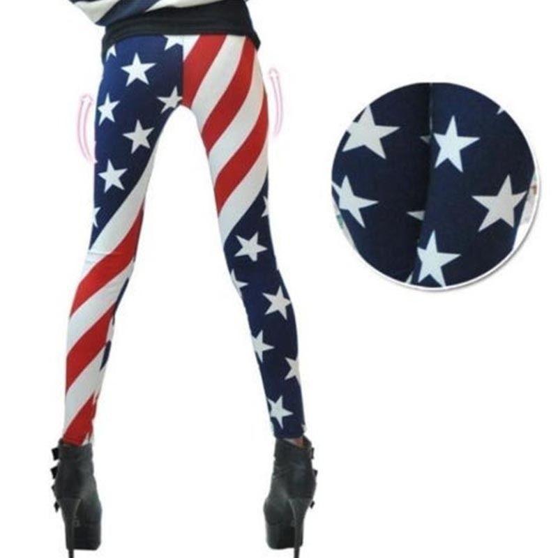 American Flag Stripes Star Print Leggings Thin Slim Leggings Pants Skinny Fitness Leggings High Stretched Casual Workout 2019