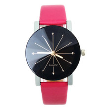 1PC Simple and casual watch WoMen Quartz Dial Clock Leather Wrist beautiful and graceful Watch Round Case Free Shipping NA24