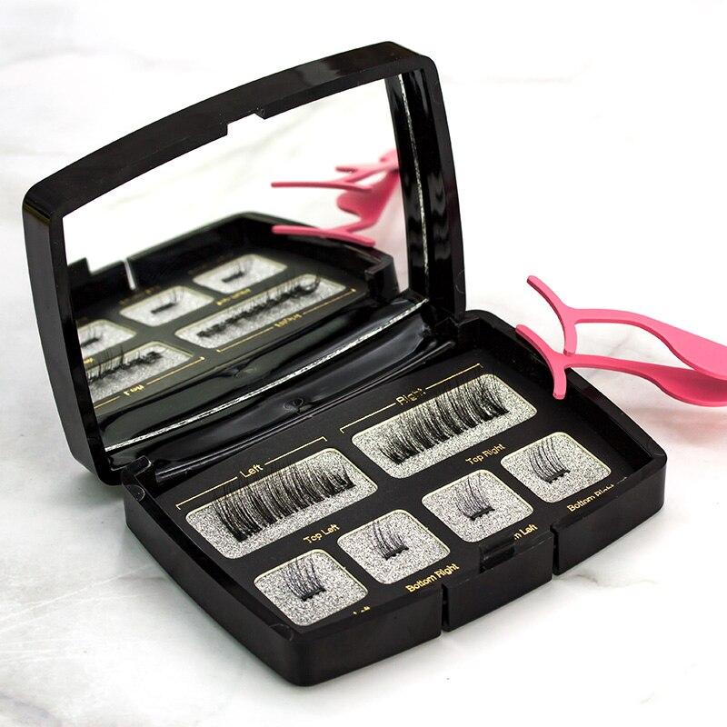 Shozy 6 unids/par magnético pestañas con 2 imanes hechos a mano pestañas falsas naturales con caja de regalo espejo y tweezer-Y-KS01