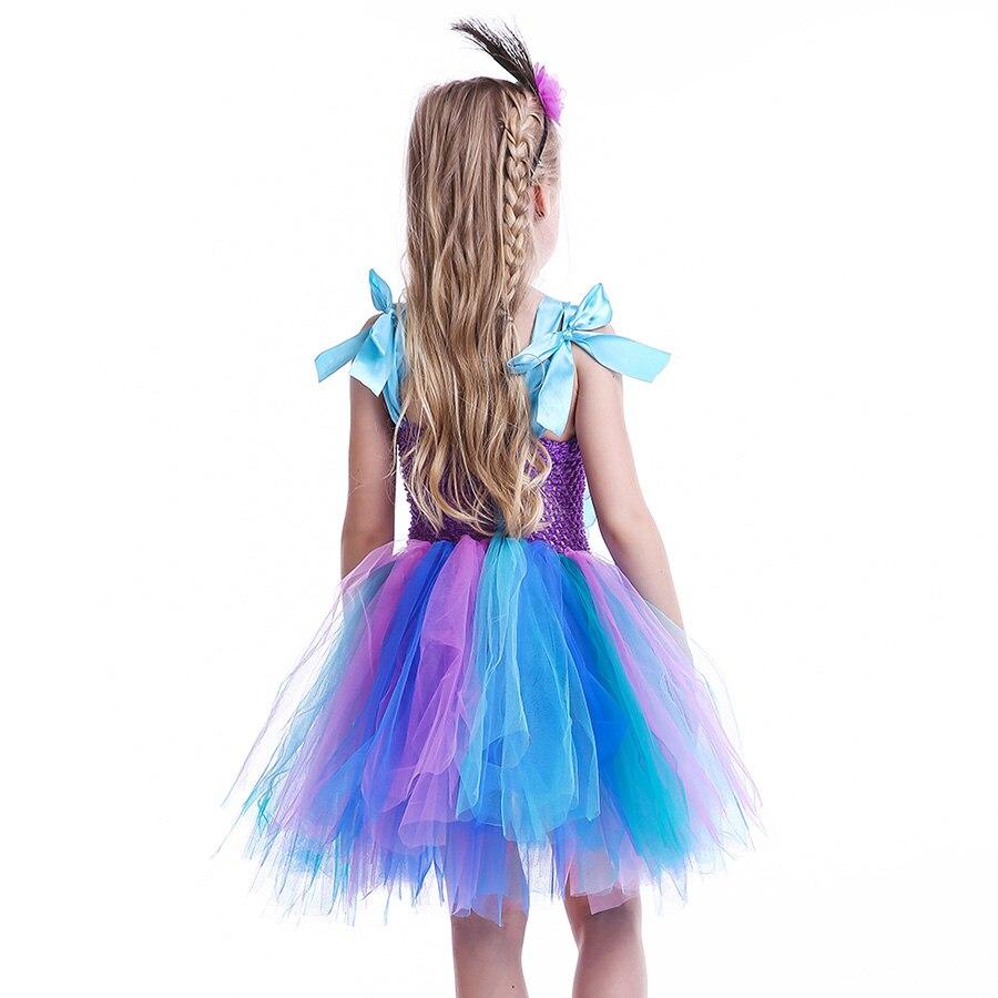 Girls Princess Peacock Flower Tutu Dress Children Handmade Purple and Blue Tulle (11)