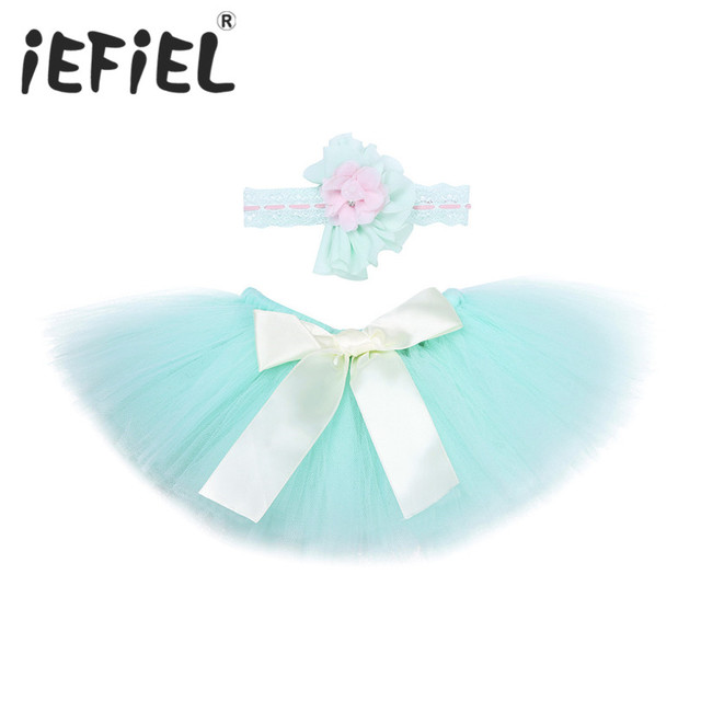 909700be134 Mint Green Newborn Baby Girls Tulle Tutu Skirt with Flower Headband Costume  Photography Props Newborn Infant Babies Bow Outfits