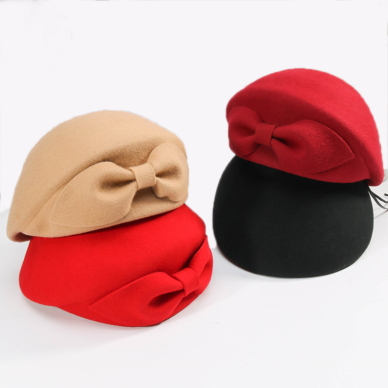 2019 Ladies Red Wedding Hat For Women Vintage 100% Wool Felt Pillbox Hats Black Fascinator Winter Fedoras Bow Beret Church Hats